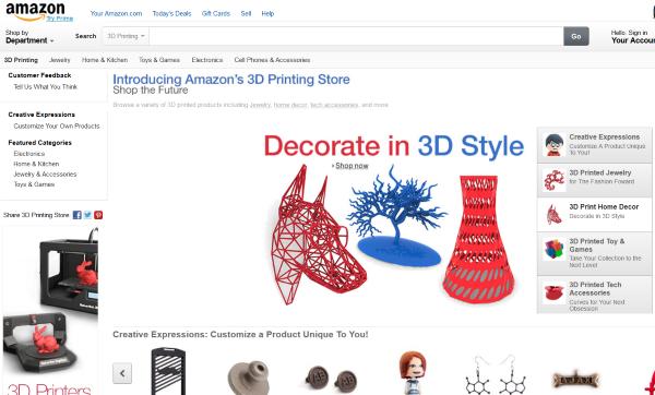 Amazonは3D印刷製品の専門店を開始しました