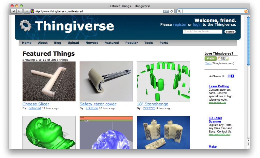 Thingiverse site